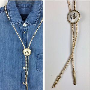 Vintage Square Dance Western Rope Slide Necklace